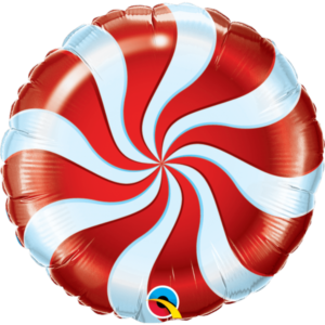 18 INCH FOIL RND CANDY SWIRL RED 1CTP