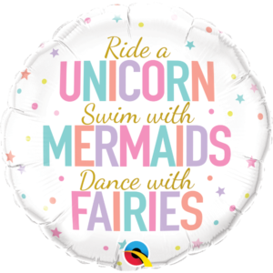 18 INCH FOIL RND UNICORN/MERMAIDS/FAIRIES 1CTP