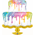 39 INCH FOIL RAINBOW DRIP CAKE 1CTP