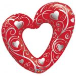 42 INCH FOIL SHAPE SW HEARTS & FILIGREE RED 1CTP