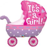 35 INCH FOIL SHAPE ITS A GIRL BABY STROLLER 1CTP