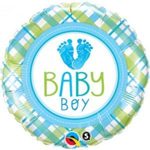 18 INCH FOIL RND BABY BOY LO(FEET)E 1CTP