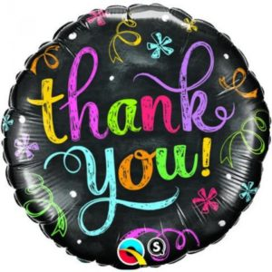 18 INCH FOIL RND THANK YOU CHALKBOARD 1CTP
