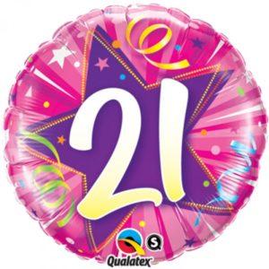 18 INCH FOIL AGE 21 SHIN ST H PINK RND 1CTP
