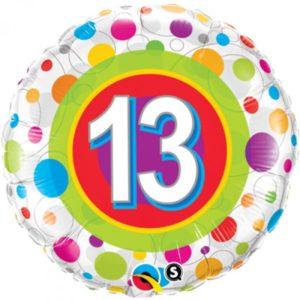 18 INCH FOIL AGE 13 COLORF DOT RND 1CTP