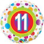 18 INCH FOIL AGE 11 COLORF DOT RND 1CTP