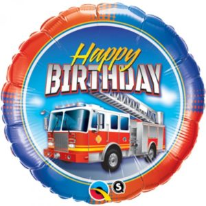 18 INCH FOIL BDAY FIRE TRUCK RND 1CTP