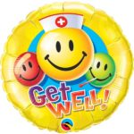 18 INCH FOIL RND GET WELL SMILEY FACES 1CTP