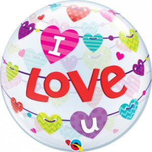 22 INCH SINGLE BUBBLE I LUV U BANNER HEARTS 1CTP
