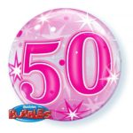 22 INCH SINGLE BUBBLE 50 PNK STARBURST SPRKLE 1CTP
