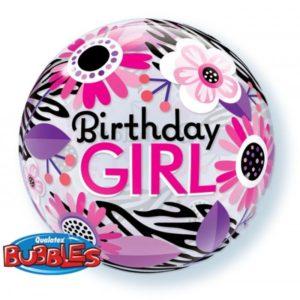 22 INCH SINGLE BUBBLE BDAY GIRL FLO ZEBRA 1CTP