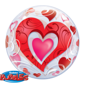 22 INCH SINGLE BUBBLE RED HEARTS & FILIGREE 1CTP