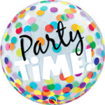 22 INCH SINGLE BUBBLE PARTY TIME COL/DOTS AGE 1CTP