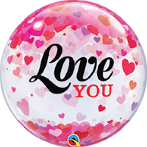 22 INCH SINGLE BUBBLE LOVE U CONFETTI HEARTS 1CTP