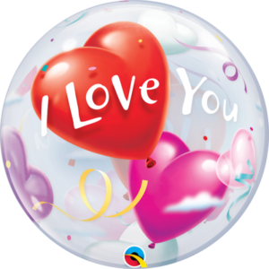22 INCH SINGLE BUBBLE I LOVE U HEART BALLOONS 1CTP