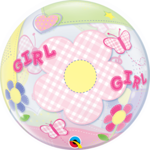 22 INCH SINGLE BUBBLE BABY GIRL BUTTERFLIES 1CTP