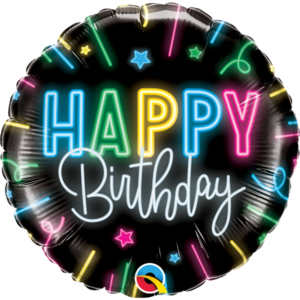 18 INCH FOIL HAPPY BDAY NEON GLOW