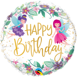 18 INCH FOIL BDAY WILD FLOWER FAIRIES 1CTP