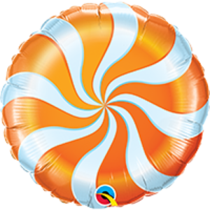 18 INCH FOIL RND CANDY SWIRL ORANGE 1CTP