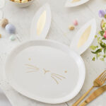Daisy Crazy – Paper Plate – Gold Foiled Bunny Face Plate