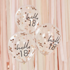 Mix It Up – Rose Gold Confetti Filled 'Hello 18' Balloons