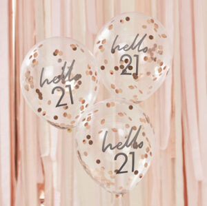 Mix It Up – Rose Gold Confetti Filled 'Hello 21' Balloons