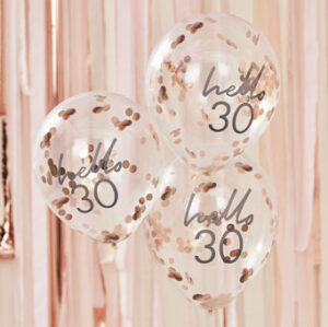 Mix It Up – Rose Gold Confetti Filled 'Hello 30' Balloons