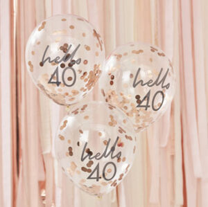 Mix It Up – Rose Gold Confetti Filled 'Hello 40' Balloons