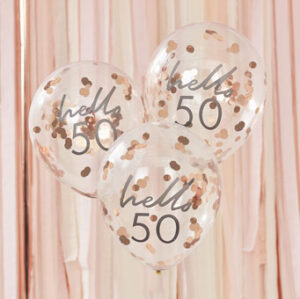 Mix It Up – Rose Gold Confetti Filled 'Hello 50' Balloons