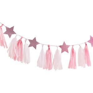 Pamper Party – Pink Tassel Garland with Pink Glitter Stars –