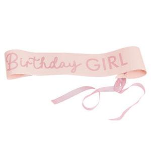 Pamper Party – Pink Glitter Birthday Girl Sash – Fancy Dres