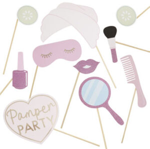 Pamper Party – Pink Glitter and Foiled Photobooth props – Fa
