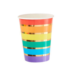 Over The Rainbow – Rainbow & Gold Foiled Party Paper Cups