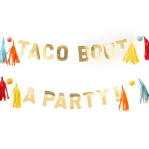 Viva la fiesta – Gold Taco Bout A Party Pom Tassel Bunting