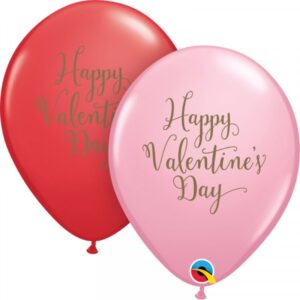 11 INCH LATEX RED&PINK HAPPY VDAY SCRIPT