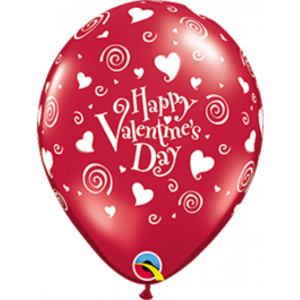 11 INCH LATEX VALENTINES SWIRLING HEARTS
