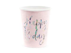 Cups Happy B'day!, light powder pink, 220ml