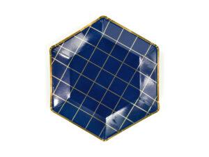 Plates Let's Celebrate – Grid, navy blue, 23cm
