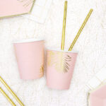 Light Pink Leaves Party Cups