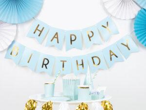 Light Blue Happy Birthday Banner