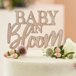 Wooden 'Baby In Bloom' Cake Topper