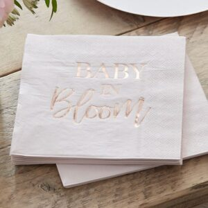 Rose Gold Foiled 'Baby in Bloom' Paper Napkins